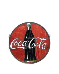 Coca-Cola Stained Glass Red Sun Catcher