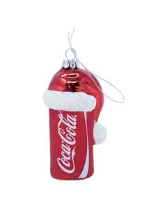 Coca-Cola Can with Santa Hat Glass Ornament