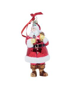 Coca-Cola Santa W/Sack Glass Ornament