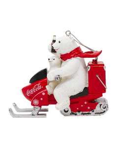 Coca-Cola Polar Bear & Cub On Snow Mobile Ornament