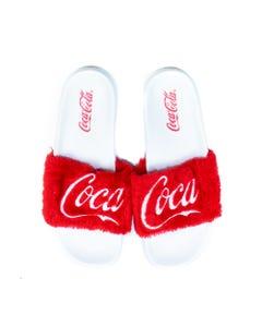 Coca-Cola Fur Script Women's Slides