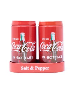 Coca-Cola Tin Salt & Pepper Shakers In Caddy