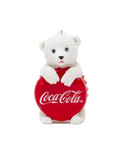 Coca-Cola Polar Bear Cub W/Bottle Cap Ornament