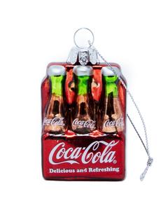 Coca-Cola 6PK Bottles Glass Ornament