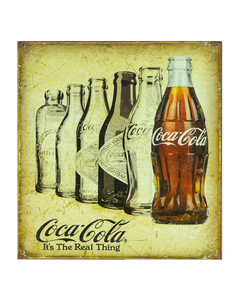 Coca-Cola Real Thing Evolution Bottles Tin Sign
