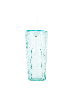 Coca-Cola Recycled Glass Tumbler 'Pop/Fiz' W/Straw 17oz.