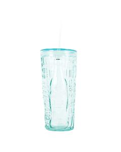 Coca-Cola Recycled Glass Tumbler 'Pop/Fiz' W/Straw 17oz.