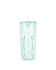 Coca-Cola Diamond Recycled Glass Tumbler W/Straw 17oz.