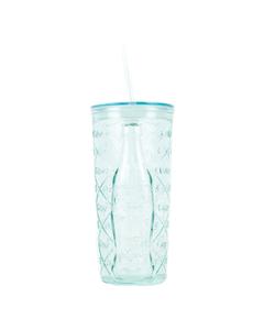 Coca-Cola Diamond Recycled Glass Tumbler W/Straw 17oz.