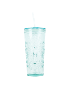 Coca-Cola Blast Icons Recycled Glass Tumbler W/Straw 17oz.