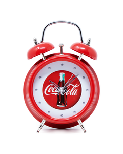 Coca-Cola Twin Bell Script W/Bottle Clock