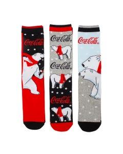 Coca-Cola Men's Polar Bear Socks -3PK