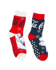 Coca-Cola Polar Bear Women's  Slipper Socks- 2PK