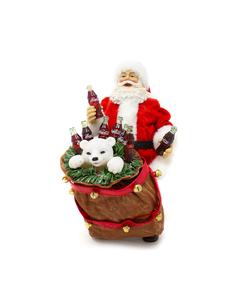 Coca-Cola Santa W/Bear In Bag Figurine
