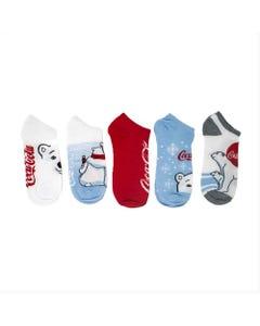 Coca-Cola Polar Bear Women's Shoe Liner Socks- 5pk
