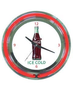 Coca-Cola Ice Cold Bottle Neon Clock
