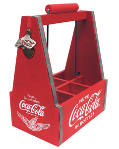 Coca-Cola 6 Pack Wood Caddy with Opener