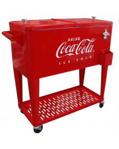 Coca-Cola 80Q Embossed Ice Cold Cooler W/Grated Tray