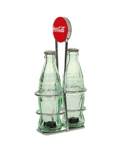 Coca-Cola Bottle Salt & Pepper Shakers in Rack