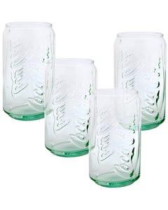 Coca-Cola Can Green Glass - Set of 4 11oz