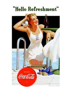 Coca-Cola Vintage Pool Girl Art Print Poster