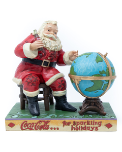Coca-Cola Jim Shore Santa Sitting At Globe Figurine