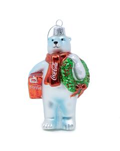Coca-Cola Polar Bear w/Wreath & Cooler Ornament