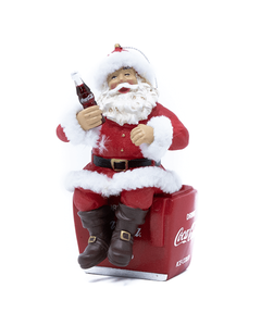 Coca-Cola Santa Sitting on Cooler Ornament