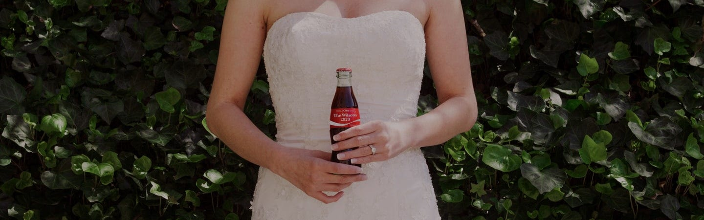 wedding setting with Coca-Cola bottles